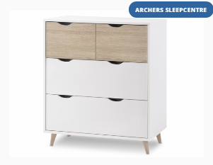 LPD Flat Packed Stockholm White and Oak 4 Drawer Chest of Drawers